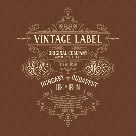 dcor: Old vintage card with floral ornament - vector