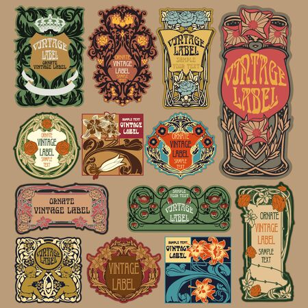 dcor: vector vintage items: label art nouveau