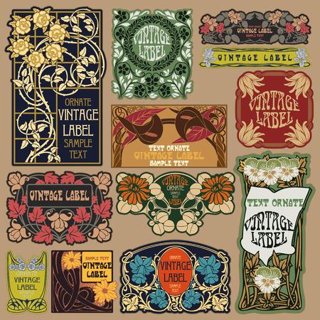 vector vintage items: etichetta art nouveau