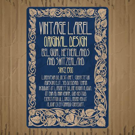 Vector vintage items: etichetta art nouveau Archivio Fotografico - 72877618