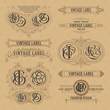 Vecchi elementi floreali d'epoca - nastri, monogrammi, strisce, linee, angoli, bordo, cornice, etichetta, logo - vettori