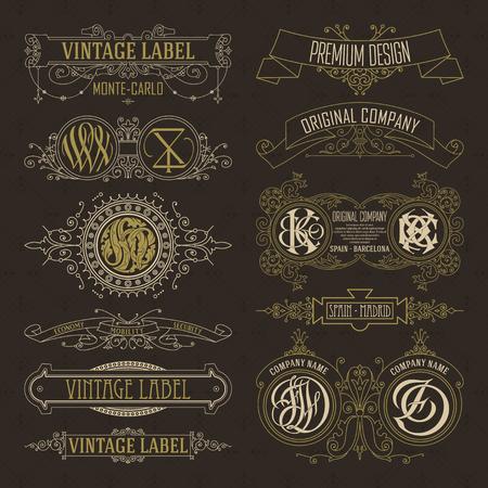 Viejo vintage elementos florales - cintas, monogramas, rayas, líneas, ángulos, frontera, marco, etiqueta, logotipo - vectores Foto de archivo - 79022992