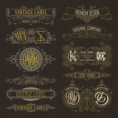 Vieux éléments floraux vintage - rubans, monogrammes, rayures, lignes, angles, bordure, cadre, étiquette, logo - vecteurs