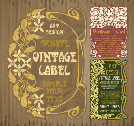 vector vintage items: label art nouveau 스톡 콘텐츠 - 104206054