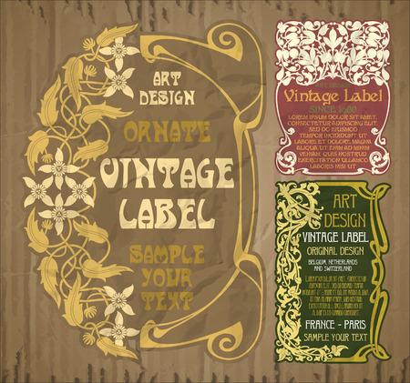 éléments vintage de vecteur: étiquette art nouveau