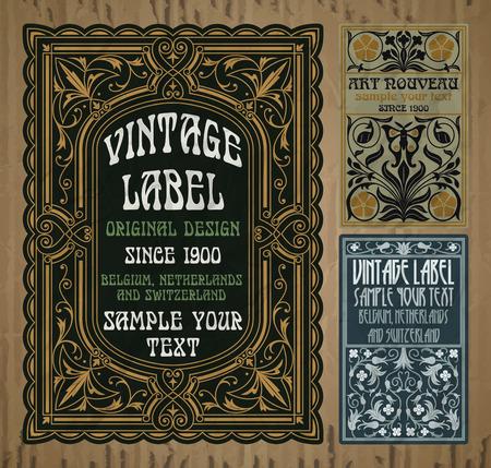 oggetti vintage vettoriali: etichetta art nouveau