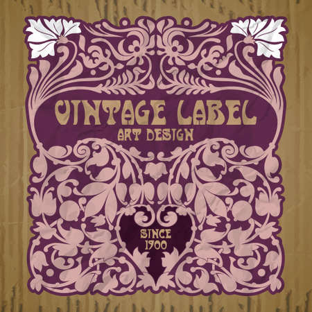 vector vintage items: label art nouveau 矢量图片