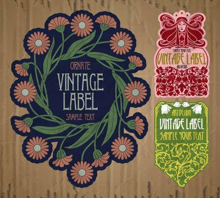 vector vintage items: label art nouveau Векторная Иллюстрация
