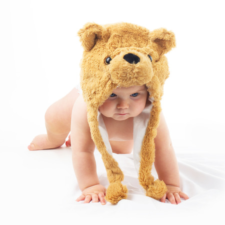 nude little girls: baby in bear cap