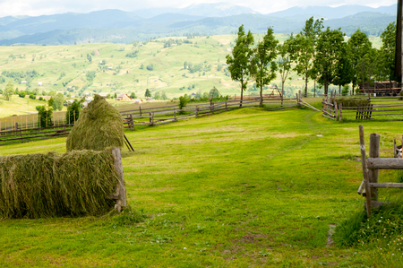 Field with haystack on mountains