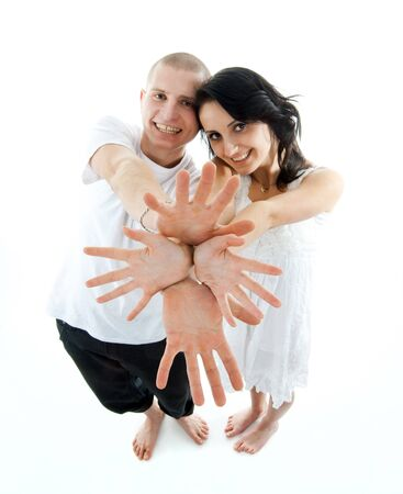 sexualidad: lovely couple on white