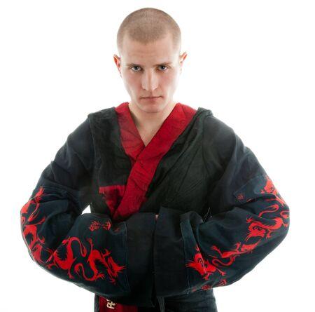 sensei: dragon samurai on white Stock Photo