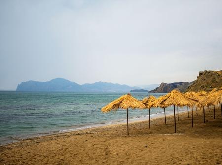 the beach umbrellas Stock Photo
