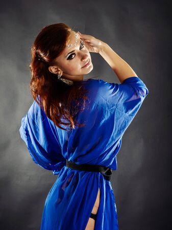 wind blown hair: Fashion Woman Portrait Stock Photo