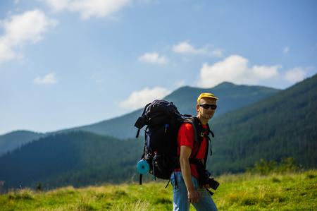 tourist on mount Stock Photo