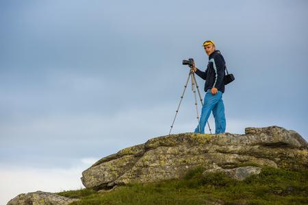 tourist on a rock