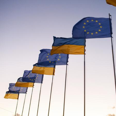 soviet flag: flags against the sky