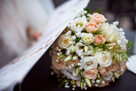 arm bouquet: Beautiful white wedding bouquet Stock Photo