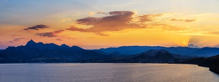 faintly visible: magnificent panorama of sunrise