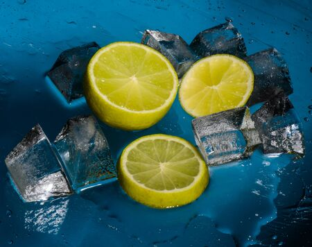 Freshness lime and cristal cube of ice Stock Photo