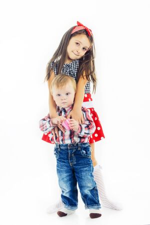 Sister embraces his bratyka.