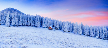 shanty: cabin in the mountains in winter
