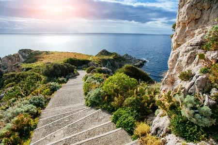 salina: Sea and Cape Milazzo. Italy.