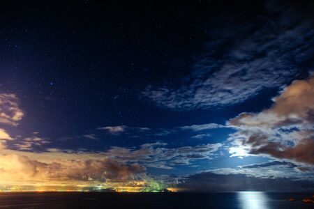 Night starry sky. Cloudy Stock Photo