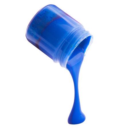 青色の塗料と白で隔離瓶 写真素材
