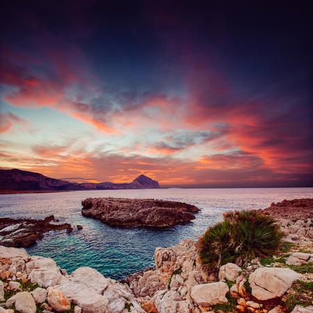 Sea and Cape Milazzo. Italy.