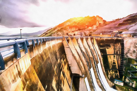Dam in Europe and Italy.Granite mountains  ravine