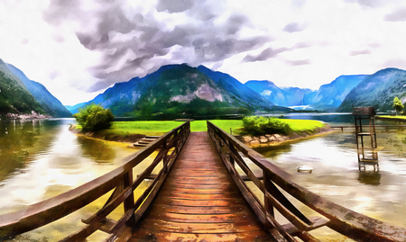 ove: The works in the style of watercolor painting. Wooden bridge ove