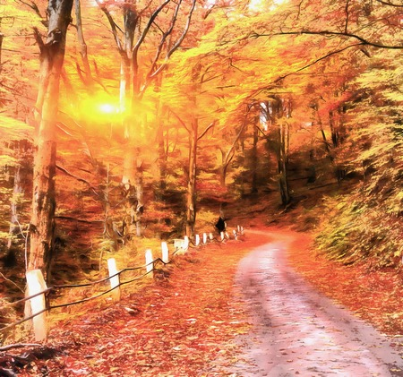 The works in the style of watercolor painting. Autumn alley. Stock Photo