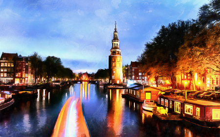 Beautiful calm night view of Amsterdam city. The works in the st 스톡 콘텐츠