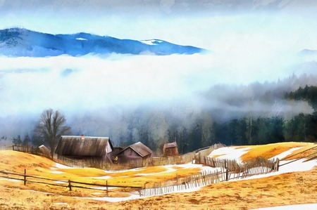 The works in the style of watercolor painting. Chalet in the mou Stock Photo