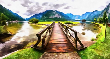 The works in the style of watercolor painting. Wooden bridge ove