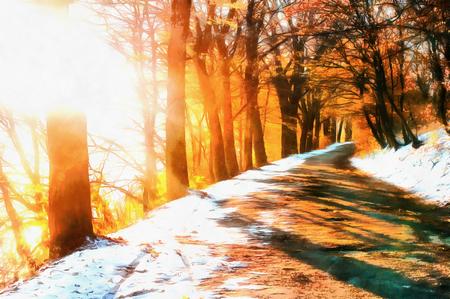 Eerste sneeuw in het bos. De werken in de stijl van aquarel pa Stockfoto