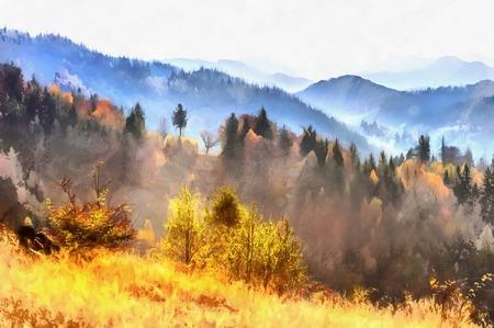 水彩画のスタイルの作品。S の白樺の森 写真素材