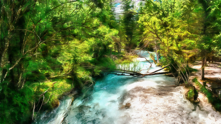 The works in the style of watercolor painting. Fast river in the