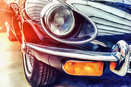 The works in the style of watercolor painting. Retro car.