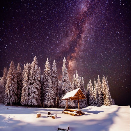 fantastic milky way in the New Years Eve Stock Photo