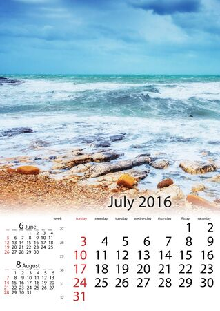 Calendar July 2016 - Spring panorama of sea coast city Trapany. Stock Photo