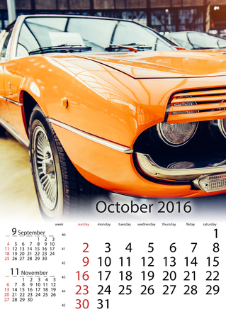 calendar October 2016 - vintage transport retro car