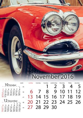 restored: Calendar November 2016 - vintage transport retro car. Stock Photo