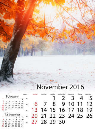 Calendar November 2016 - Sunlight breaks through the autumn