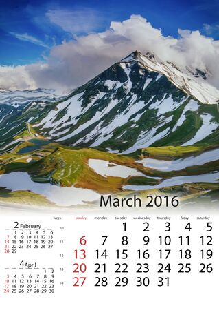 rockies: Calendar March 2016 - Mountain peaks covered with snow Stock Photo