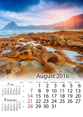 old time: Calendar August 2016 - Spring panorama of sea coast city Trapany