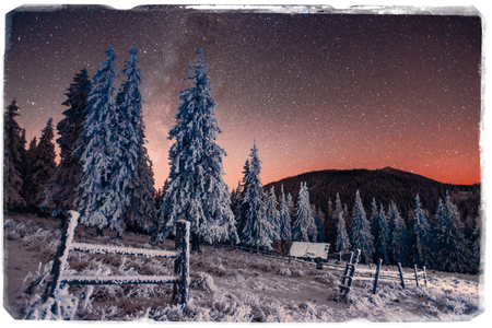 snowcapped: fantastic winter meteor shower and the snow-capped mountains. Vi