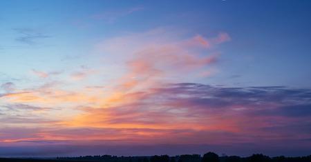 translucent red: Fantastic blue orange sunset. Beauty world. Europe Stock Photo