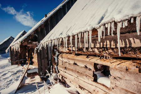 cabin in the mountains in winter